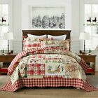Classic Red Checkered Christmas Decoration 3 pc Quilted King Queen Coverlet Set image