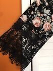 2X New Black Floral Peasant Top Floral Crocheted Lace Blouse Pink Tee Knit