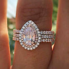 Women Ladies 925 Silver Plated Rings Pink Zircon Jewelry Engagement Party Gifts