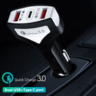 QC 3.0 Fast Car Charger Adapter Dual USB & Type C Port For iPhone iPad Samsung