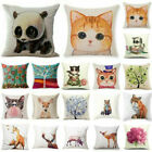 Soft Home Decor Cotton Linen Throw Pillow Case Fox Sofa Waist Cushion Cover image