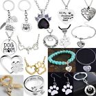 Dog Prints Love Heart Crystal Pendant Necklace Bracelet Family Memory Jewelry