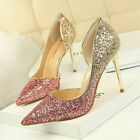 Womens Ladies Bling Pumps High Heel Stiletto Sandals Pointed Toe Party Shoes New