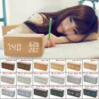 Multifunction Digital LED Wood Alarm Clock Voice Control Timer Thermometer New