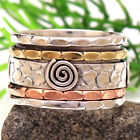 wide Band Spinner 3 Tone Fidget Ring 925 Sterling Silver solid Jewelry all Size