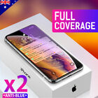 2X iPhone 11 Pro XS Max XR Full Cover Tempered Glass Screen Protector For Apple