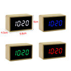 Digital Wooden Mirror Alarm Clock Cube Desk Thermometer with LED Display NICE#ur