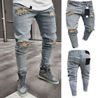 Men's Ripped Skinny Biker Jeans Destroyed Frayed Slim Denim Pants Trousers US