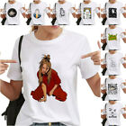 Womens Hip Hop Billie Eilish Face Print O Neck Short Sleeve T Shirt White image