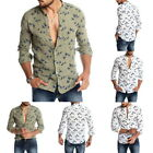 New Men's Casual Wild Goose Pattern Long Sleeve Button Closure Hawaiian Shirt