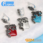 15mm Square Beads Carved Tibetan Silver Dangle Earrings Fashion Jewelry Gift GB