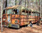 """Artography Central """"Late for School"""" Abandoned School Bus, Grunge, Antique"""
