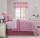 Bubble Gum Pink Trellis Bed-in-a-Bag Comforter and Curtain Set - Assorted Sizes