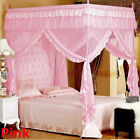 Mosquito Net Bed Canopy-lace Luxury 4 Corner Square Princess Fly Screen Indoor image