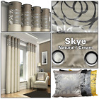Natural Cream Metallic Floral Swirl Ready Made Eyelet Top Ring Top Curtains Pair