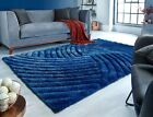 SMALL- LARGE HEAVYWEIGHT DARK CLASSIC BLUE THICK CARVED PILE 3D VERGE FURROW RUG