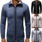 Mens Regular Fit Stand Collar Full Zipper Solid Color Knitted Sweater Knitwear