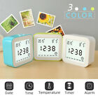 Rotating Desk Digital Alarm Clock with Thermometer Large LCD Display Clock
