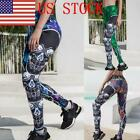 US Women Printed Leggings High Waist Tummy Control Workout Running Yoga Pants 03