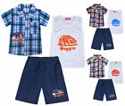 Boys Summer Set 3 Psc Check Shirt Vest Top Shorts Age 2 3 4 5 6 7 8 9 10 Years