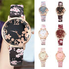 Fashion Women Embossed Flowers Printed Leather Band Quartz Watch Wrist Watches image