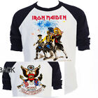 "IRON MAIDEN, 4th Of July, 86' TOUR,""Rare""Art, Black Sleeve BBall T-Shirt  T-573 image"