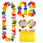 LADIES HAWAIIAN HULA SKIRT HEADBAND WRISTBANDS LEI BRA BEACH PARTY FANCY DRESS