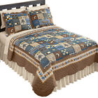 Woodlands Cabin Blue and Brown Patchwork Quilt, Bears, Moose, Pine Trees Decor image