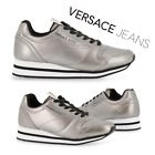 New Womens VERSACE Walking Sport Sneakers Leather Casual Silver Trainer Shoes