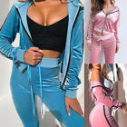 Women Spring Autumn Two Piece Sets Casual Velvet Zip Hooded Jackets Tracksuits