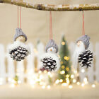 Eco Friendly Wooden Wool Doll Pinecone Snowman Pendant Christmas Tree Decoration