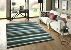 LARGE & EXTRA LARGE TEAL BLUE DARK BROWN CREAM STRIPED STRIPES RUG CLEARANCE