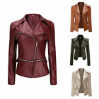 Women's PU Leather Coat Jacket Flight Coat Zip Up Biker Casual Tops Outfit GIFT