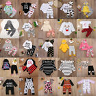 US Newborn Toddler Baby Boys Girls Hooded Tops+Pants Set Kids Clothes Outfits