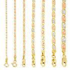 "10K Gold Solid Tri Yellow Rose White 1.5mm-6mm Valentino Chain Necklace 16""- 30"" image"
