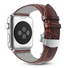 For Apple Watch 44mm Series 5 Genuine Leather Strap Wrist Bands Butterfly Buckle $10.99 USD on eBay