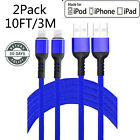 NEW Lightning Cable Heavy Duty For iPhone 8 7 6 Plus X XS XR Charger Cord Blue