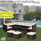 5 Pcs Outdoor Lounge Furniture Koret Sofa Set Patio, Garden, Outdoor Brown Black