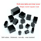 Black Rubber Chair Table Feet Furniture Cover Caps Round/Square/Oval All Sizes
