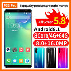 P33 Pro Unlocked Smart Phone 5.7'' Android 8.1 Hd Camera Dual Sim Mobile Face Id