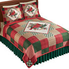 Reversible Cardinal Greenery Diamond Patchwork Quilt - Holiday Bedroom Decor image