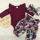 Canis Newborn Infant Baby Girl Tops Romper Floral Pants Headband Outfits Clothes
