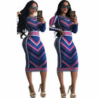Women Bandage Bodycon Long Sleeve Ladies Evening Party Cocktail Club Midi Dress