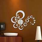 Large 3D Wall Mirror Surface Sticker Decal with Clock Modern Home Art Decoration