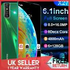X27 6.3''smart Mobile Phone Octa Core 8+16mp Android 9.0 Face Id Unlock Dual Sim