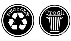 Grungy Recycle Trash Decal Stickers [for Waste Cans - Home Office Bar Game Room]