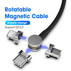 For Type C Android iPhone Micro USB Charger 180° Rotate Magnetic Charging Cable