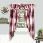 Farmhouse Plaid Gingham Check Swag Valance Curtain Panel Pair - Assorted Colors