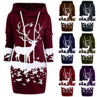 Women Xmas Monochrome Reindeer Printed Hooded Drawstring Dress Sweatshirt GIFT