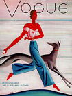 Vogue Cover Fashion Lady Playing with Grayhound Dog Vintage Poster Repro FREE SH